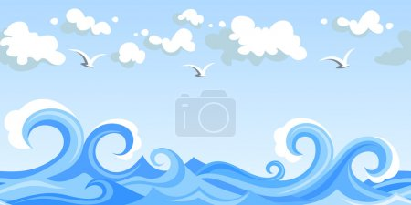 Illustration for Vector illustration of horizontal seamless landscape with sea waves, sky with clouds and gulls. - Royalty Free Image