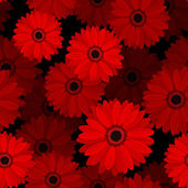 Seamless pattern with red gerbera flowers Vector illustration