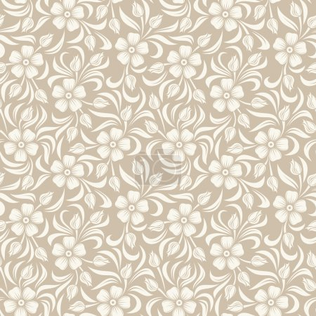 Illustration for Vector seamless background with beige vintage floral pattern. - Royalty Free Image