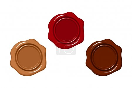 Illustration for Set of three vector wax seals of various colors isolated on a white background. - Royalty Free Image