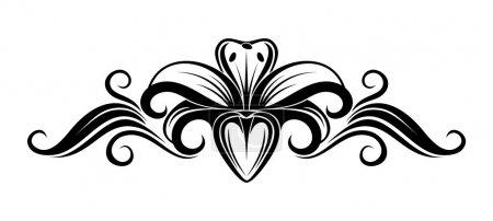 Illustration pour Silhouette vectorielle noire de fleur de lys sur fond blanc . - image libre de droit