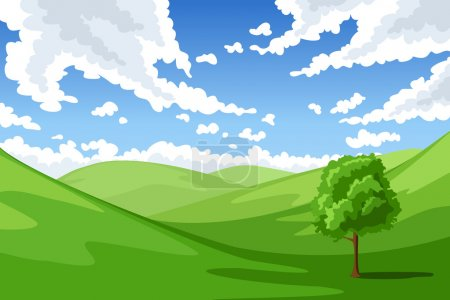 Illustration for Vector illustration of summer landscape with hills, tree and sky with clouds. - Royalty Free Image