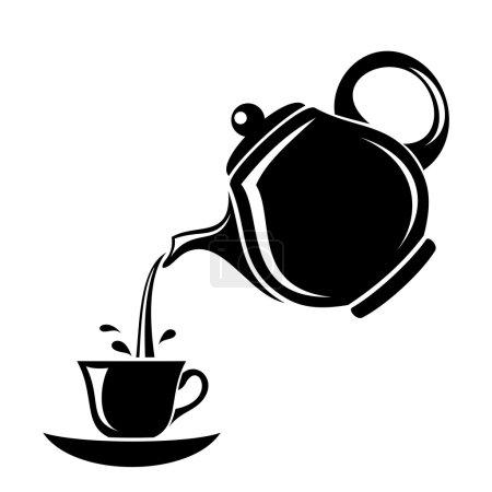 Black silhouette of porcelain teapot pouring tea i...