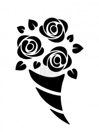 Illustration for Vector black silhouette of abstract roses bouquet on a white background. - Royalty Free Image