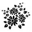 Vector black silhouette of flowers on a white back...