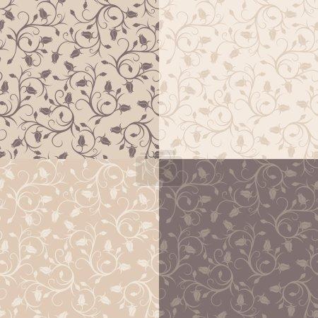 Illustration pour Ensemble de quatre motifs vectoriels vintage sans couture avec des boutons de rose. Couleurs beige et marron . - image libre de droit