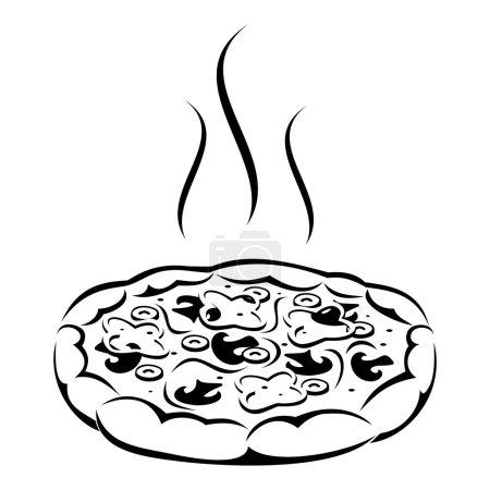 Illustration pour Silhouette vectorielle noire de pizza aux champignons, olives, poivre et fromage . - image libre de droit