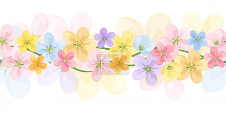 Horizontal seamless background with colorful flowers. Vector EPS-10.