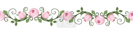 Vintage horizontal seamless vignettes with pink rose buds. Vector illustration.