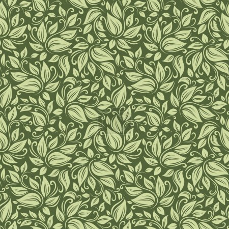 Seamless floral green pattern. Vector illustration.