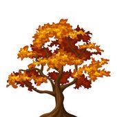 Autumn oak tree Vector illustration