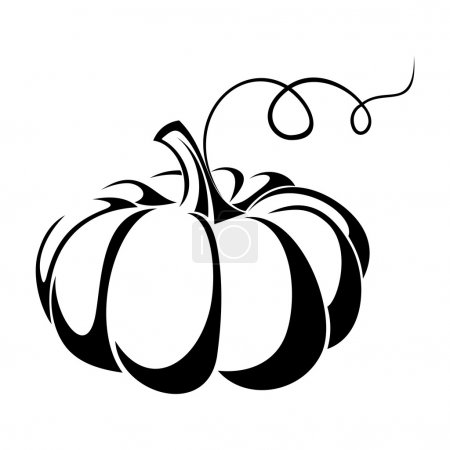 Illustration for Vector black silhouette of pumpkin. - Royalty Free Image