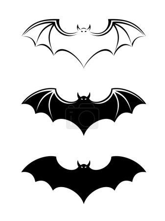 Bats. Vector black silhouettes.