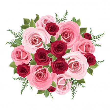 Illustration for Vector illustration of bouquet of pink and red roses and leaves. - Royalty Free Image