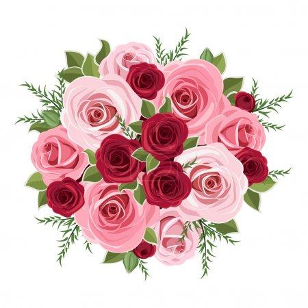 Illustration pour Illustration vectorielle du bouquet de roses et de feuilles roses et rouges . - image libre de droit