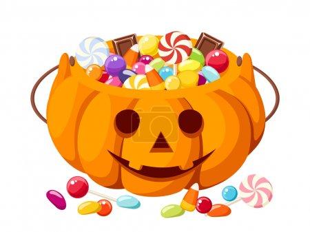 Illustration pour Bonbons colorés Halloween dans le sac Jack-O-Lantern. Illustration vectorielle . - image libre de droit