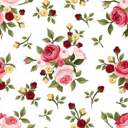 Vintage seamless pattern with roses. Vector illustration.