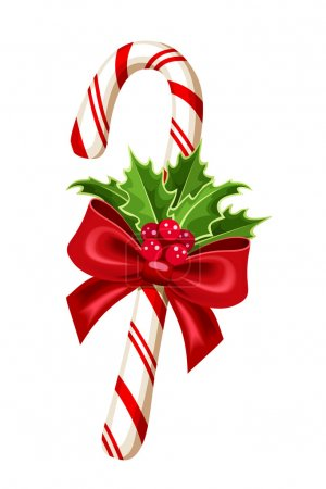 Illustration for Vector Christmas candy cane with bow and holly. - Royalty Free Image