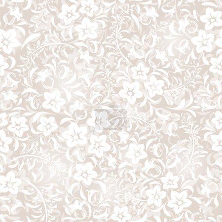 Illustration pour Modèle floral blanc sans couture vectoriel . - image libre de droit