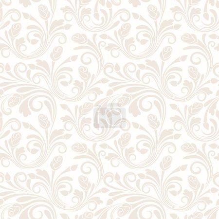 Illustration pour Vecteur vintage beige motif sans couture avec des bourgeons et des feuilles de rose . - image libre de droit