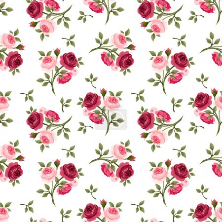 Seamless pattern with red and pink roses. Vector illustration.