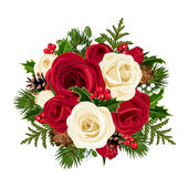 Christmas bouquet with roses Vector illustration