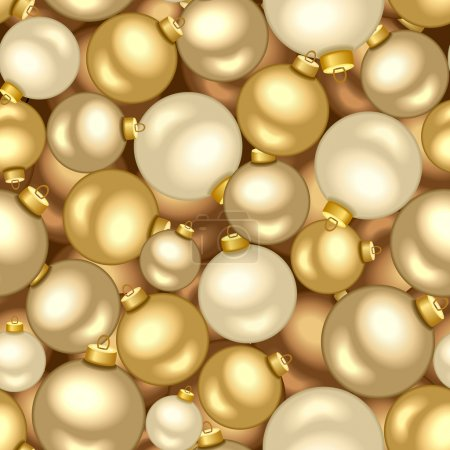Seamless background with gold Christmas balls. Vector illustration.