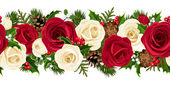 Vector Christmas horizontal seamless background with red and white roses fir branches cones holly and mistletoe