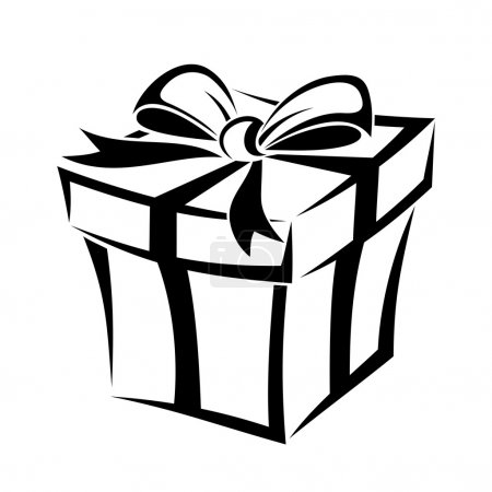 Illustration for Vector black silhouette of gift box with bow. - Royalty Free Image