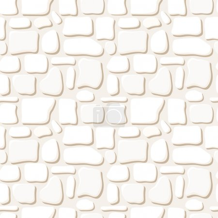Seamless texture of white stone wall. Vector illustration.