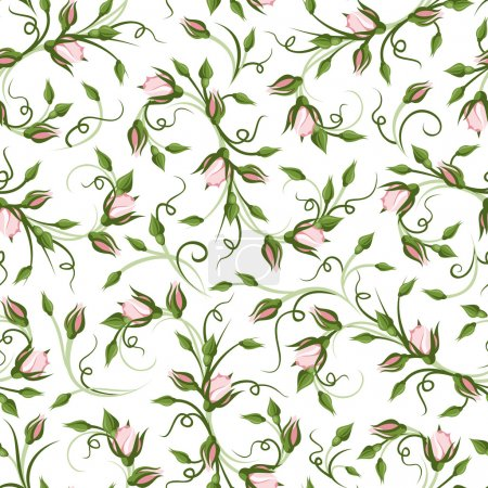 Illustration for Vector seamless pattern with pink rose buds on a white background. - Royalty Free Image