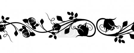 Illustration for Vector horizontal seamless vignette with silhouettes of rose buds on a white background. - Royalty Free Image