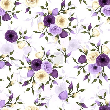 Illustration for Vector seamless pattern with purple and white lisianthus flowers. - Royalty Free Image
