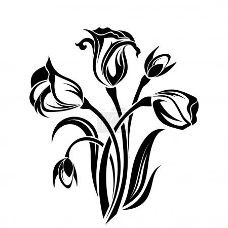 Illustration for Vector black silhouette of flowers on a white background. - Royalty Free Image