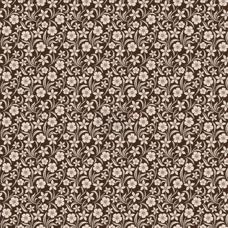 Illustration pour Vecteur motif floral beige sans couture sur brun . - image libre de droit