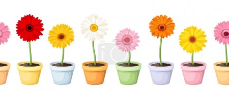Illustration for Vector horizontal seamless background with colorful gerbera flowers in flowerpots. - Royalty Free Image