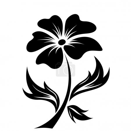 Illustration for Vector black silhouette of flower on a white background. - Royalty Free Image