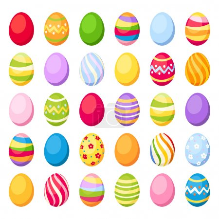 Illustration for Vector set of 30 colorful Easter eggs isolated on white. Vector illustration. - Royalty Free Image
