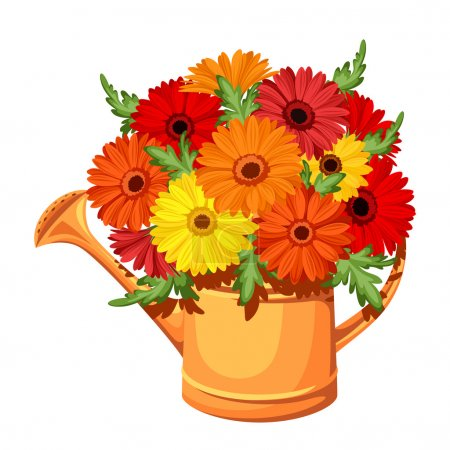 Illustration for Vector illustration of orange watering can with bouquet of colorful daisy flowers. - Royalty Free Image