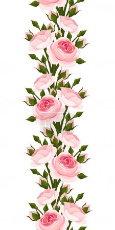 Seamless vertical border with pink roses. Vector illustration.