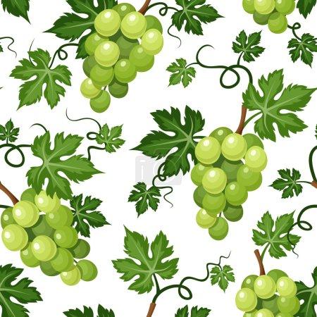 Illustration pour Fond vectoriel sans couture avec vignes de raisin vert sur fond blanc . - image libre de droit