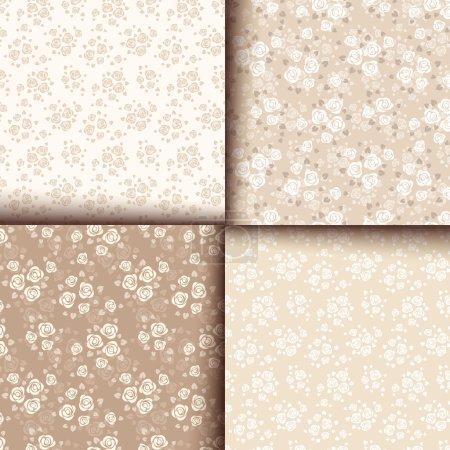 Illustration pour Ensemble de quatre motifs sans couture beige vectoriel avec des roses . - image libre de droit