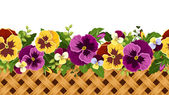 Horizontal seamless background with pansy flowers and wicker Vector illustration