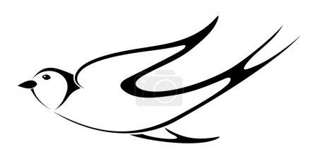 Illustration for Vector black silhouette of flying swallow on a white background. - Royalty Free Image