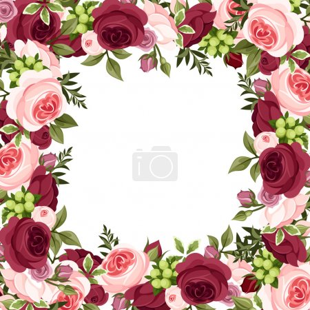 Vector background with red and pink roses.