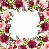 """Постер, картина, фотообои """"Векторный фон с красных и розовых роз"""""""