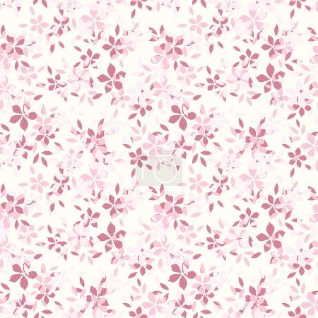 Illustration pour Motif vectoriel sans couture avec de petites fleurs roses et feuilles sur un fond blanc . - image libre de droit