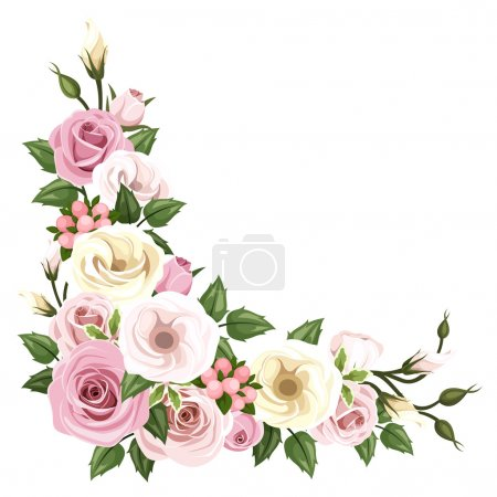 Illustration for Vector corner background with pink and white roses and lisianthus flowers and green leaves. - Royalty Free Image