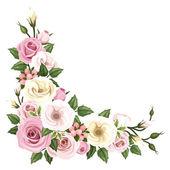 """Постер, картина, фотообои """"цветы розы и Лизиантус. Векторный фон углу."""""""
