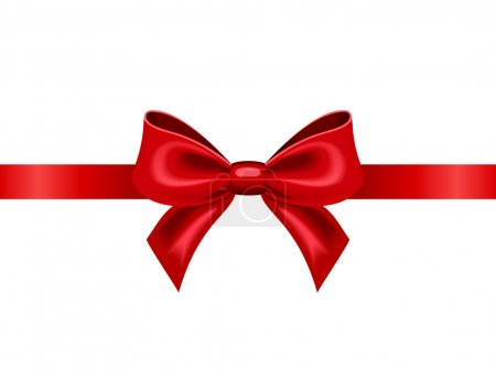 Red ribbon with bow. Vector illustration.